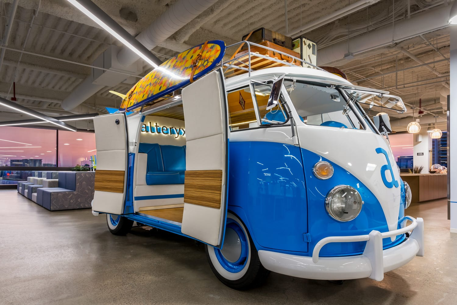 VW Bus at the Alteryx Headquarters