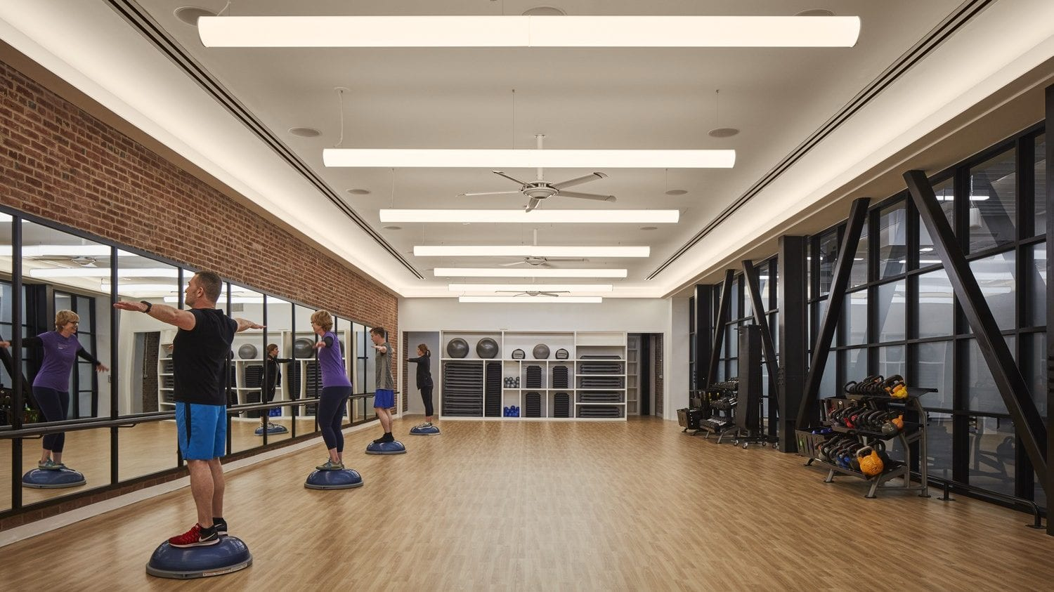 Group fitness room at the fitness and wellness center at Wel at Humana in Louisville, KY
