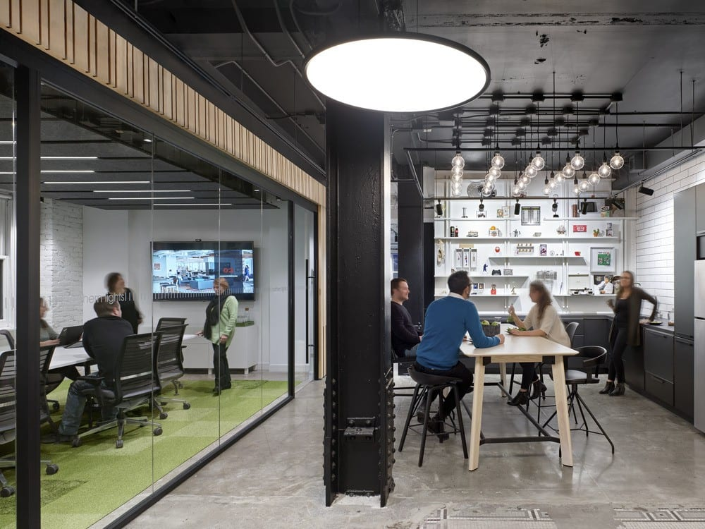 Meeting spaces at IA's Toronto office.