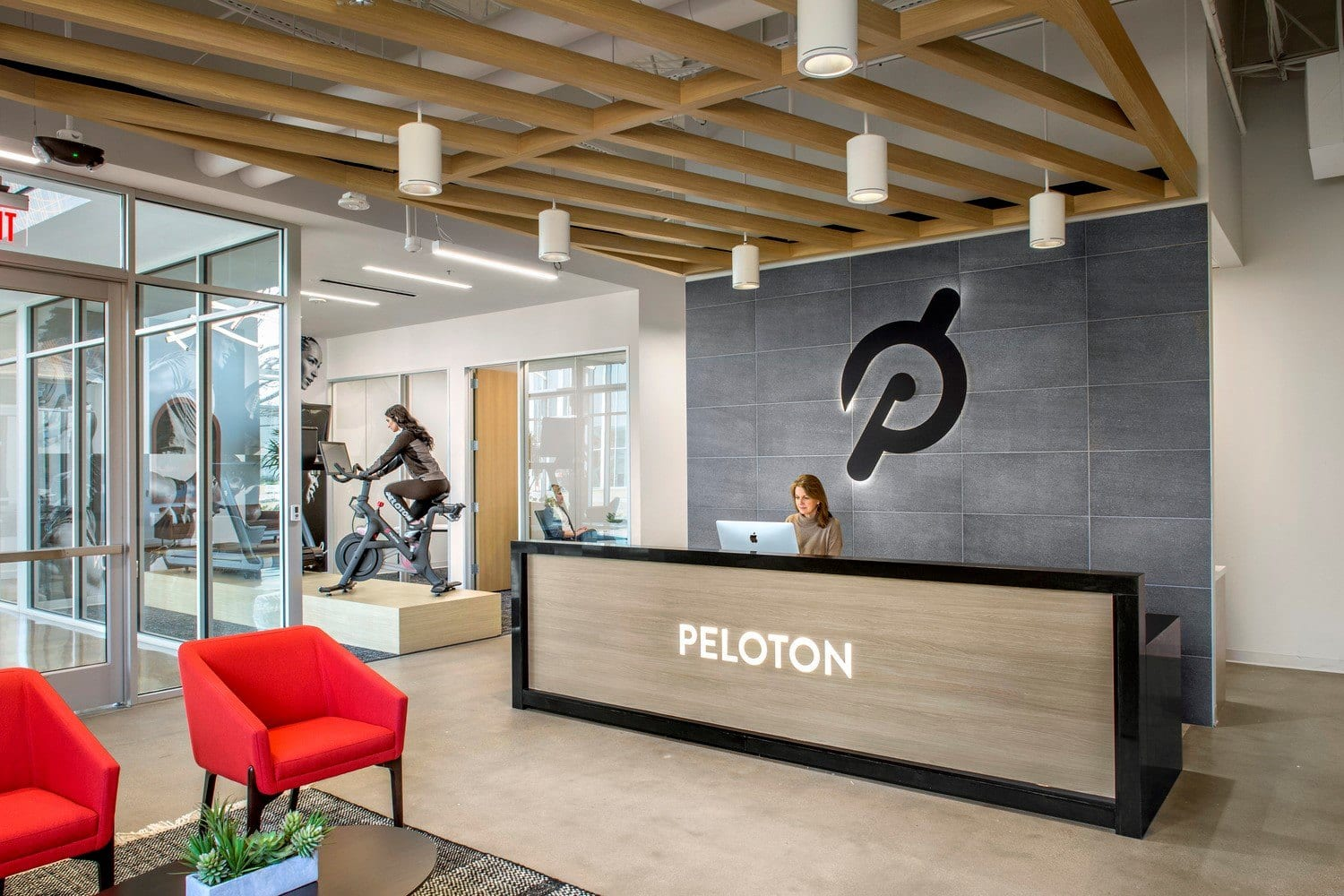 A warm wood lattice at by the Customer Care Center at the Peloton Customer Care Center.
