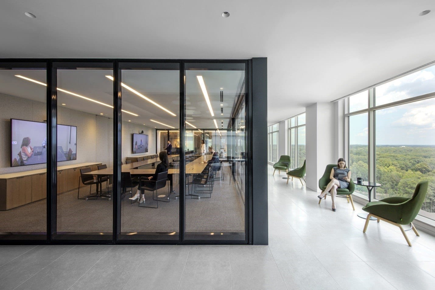 A collaborative meeting space with nearby informal work areas