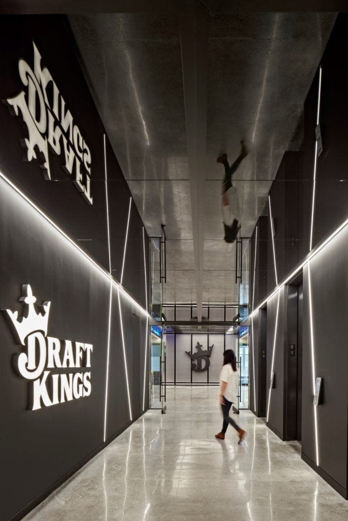 The lobby at DraftKings' Boston headquarters.
