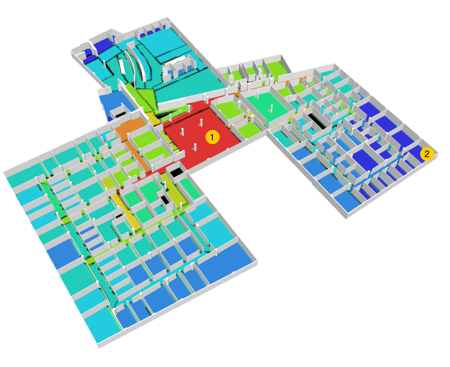 Figure 3 – The Integration of Space convex map overlaid with a 3D workspace view. Red is the most integrated; dark blue is least integrated. Area #1 is the most integrated and area #2 is one of the least integrated spaces.