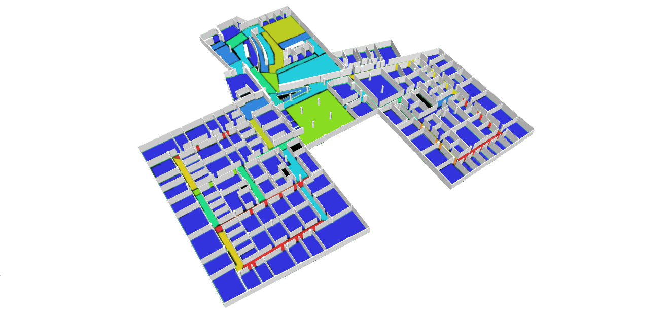 Figure 7 - Degree of Connectivity convex map overlaid with a 3D workplace view. Red indicates more highly connected areas, blue lesser-connected spaces.