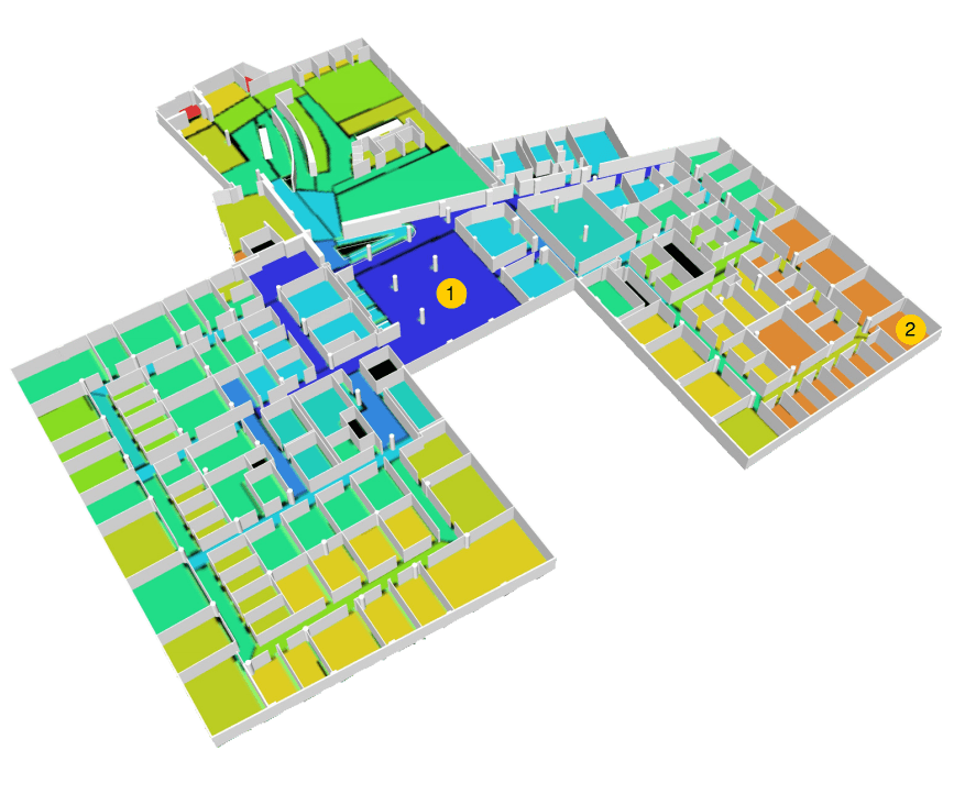 Figure 5 – The Mean Depth of Space convex map overlaid with a 3D workplace view. Red indicates a utility closet, the only abnormally deep space; dark blue shows shallow spaces. Area #1 is the most shallow; area #2 indicates some of the deepest space.