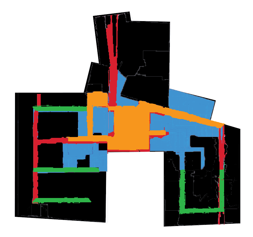 Overlay of areas most likely to facilitate collaboration in example workspace.