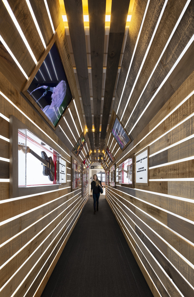 Wooden hall with slats in NYC